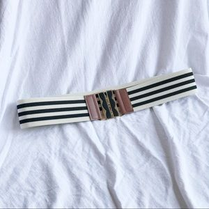 Black and White Stripe Elastic Stripe Belt